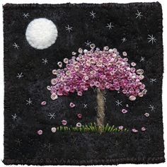 Moonlight Blossoms-A wee tree enjoying some moon-time. Wee stars and wee blossoms too.The moon is made of felt. I always knew it wasn't cheese! by Kirsten's Fabric Art...(very mystical design!)....