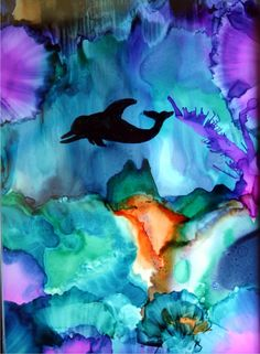 Dolphin - alcohol Inks on Yupo paper. By Cindy Howe.