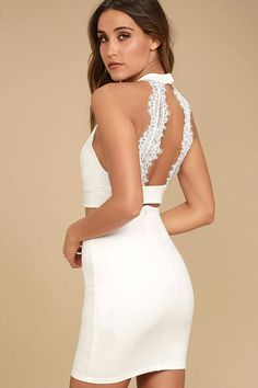 The Chic My Interest Ivory Lace Two-Piece Dress has put hearts in our eyes!  This sexy two-piece set features a lacy crop top and high-waisted bodycon  skirt. 0cdbb1948