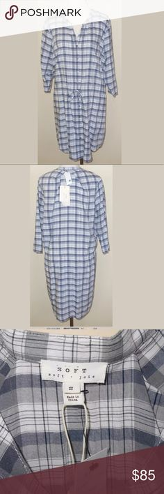 "New Soft Joie ""Dayle"" Check Dress size Small New with tags Soft Joie ""Dayle"" Indigo & Gray Check Dress. It has a slip neckline, drawstring waist, and 3/4 sleeves. Women's size Small. 100% Rayon. Pit to pit is 23"", length is 36 1/2"". It would also be cute as a tunic with leggings or tights. MSRP $178.00 Soft Joie Dresses"