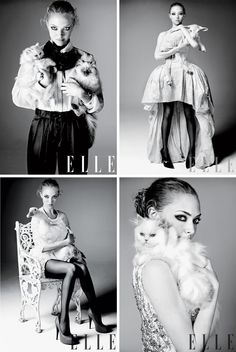 "i like the four pictures on the one page, the black and white also adds an interesting element to the layout ~ this is amanda seyfried in ""Elle"" magazine"