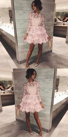 round neck pink short homecoming dresses, long sleeves lace short prom dresses, lace tiered short homecoming dress with sleeves #homecomingdresses