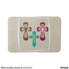 Three wooden crosses bath mat