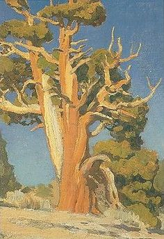 """'Old Juniper', by Maynard Dixon. A few simple strokes of color, and he gives this tree life. This is a great California artist who created some of the best known """"Sunset"""" covers. Landscape Art, Landscape Paintings, Oil Paintings, Western Landscape, Pierre Auguste Renoir, Imagen Natural, Maynard Dixon, Southwestern Art, Art For Art Sake"""
