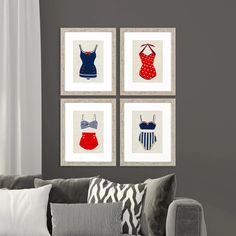 Fresh red, white and blue Vintage bathing suits are presented with lovely matting in white and framed in a rustic-cottage whitewash finish molding. Beach Condo Decor, Boat Decor, Retro Swim, Condo Decorating, Decorating Ideas, Vintage Bathing Suits, Rustic Cottage, 4th Of July Party, Coastal Art