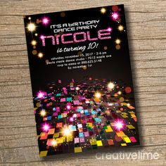 Disco Dance Party Birthday Invitation. Dance by creativelime