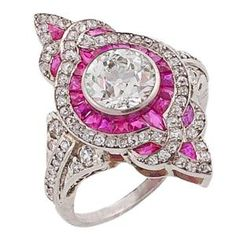 Art Deco Diamond, Ruby & Platinum Ring by Divonsir Borges