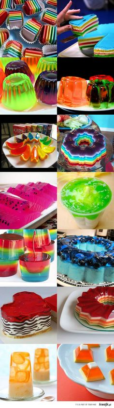 Discover thousands of images about Kinder Party- urodzinowe inspiracje i ciekawe pomysły. Jello Desserts, Jello Recipes, Just Desserts, Delicious Desserts, Dessert Recipes, Yummy Food, Jello Cake, Dessert Ideas, Rainbow Food