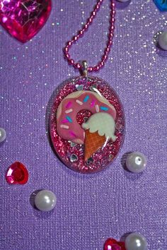 I love Sweets Donut and Ice Cream Resin Necklace