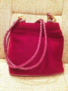 Vintage Tianni Burgundy Red Velvet Shoulder Bag Purse W/long Leather Strap #Tianni #ShoulderBag