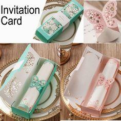 Rosa tarjeta de invitación de boda de la mariposa elegante corte láser decoración de papel partido amante romántico invitando tarjeta de invitación de la boda(China (Mainland)):