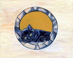 Cat Art Painting Original Artwork Acrylic Art by JeannesJungle