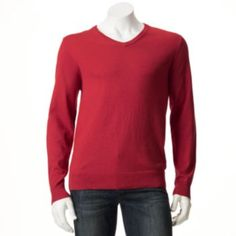 Men's SONOMA life + style Classic-Fit Solid Fine Gauge Heathered Sweater in lake heather and dark brick heather