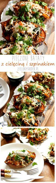 bataty+cielęcina+szpinak+ser. pyszne i zdrowe. na obiad lub przekąskę