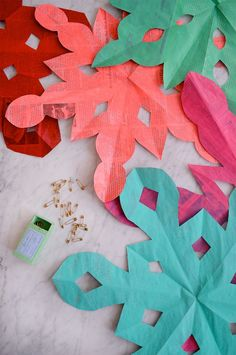 GIANT paper snowflakes made from painted newspaper!