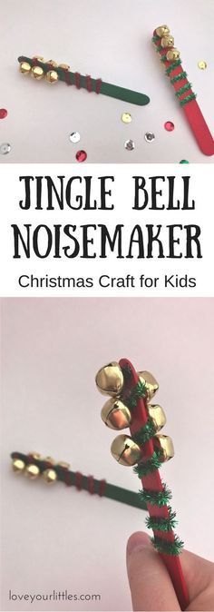Fun and festive Christmas craft for kids to make! Have fun singing songs with your jingle bell noisemaker. activities Jingle Bell Noisemaker Craft - Love Your Littles Toddler Crafts, Diy Crafts For Kids, Art For Kids, Craft Ideas, Kids Diy, Diy Ideas, Quick Crafts, Simple Crafts, Crafty Kids