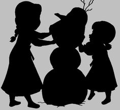 Frozen silhouette - children Elsa and Anna