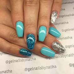 Teal and Silver Glitter Gel Nails #gelnails