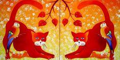 Tomcatten - Schilderij,  100x50 cm ©2010 door Tetiana Gorbachenko -                            Hedendaagse schilderkunst, paintings