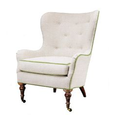 Lee Industries Wingback Chair | Pindler Oyster Linen | Jane Churchill Green Welting