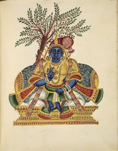 Nammalvar has a blue complexion,with his hair gathered in a chayyakkontai on the left side of his head, topped by a coronet with a central aigrette. The alvar's right hand is in vitarka mudra while the left is in what appears to be mushti mudra. Behind the throne is a tamarind tree, an allusion to the pivotal role played by this tree in Nammalvar's life.       Company School,      Trichinopoly Style, c.1830.         Painted in: Tiruchirapalli. An album of 70 paintings of Indian gods.