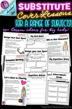 Substitute Cover Lessons Pack for a range of subjects Teacher Quotes, Teacher Humor, School Resources, Teacher Resources, School Direct, Time Management Tips, New Teachers, Differentiation, Classroom Organization