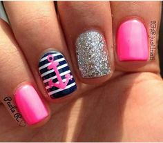Anchor , nails , pink and navy blue , sparkly