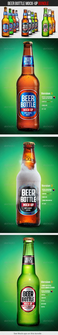 Beer Bottle Mock-Up Bundle - Food and Drink Packaging
