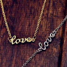 "NEW ""Love"" Written Silver & Gold Necklaces •100% Brand New & High Quality •All Orders are shipped SAME DAY and you'll receive your item within 1-3 business days via USPS Priority Mail. •Please feel free to ask questions regarding the item. •Happy Poshing! Jewelry Necklaces"