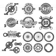 Set of vintage and modern bicycle shop logo badges and labels. Bicycle wheel isolated vector, bicycle parts icon, bicycle shop and repair logotypes, bicycle chain, bicycle old style badge template - stock vector Bicycle Shop, Bicycle Wheel, Bicycle Art, Logo Velo, Bike Logo, Shop Logo, Dw Shop, Logo Boutique, Wheel Logo