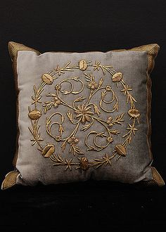 Antique Ottoman Empire raised gold metallic embroidery or Bindalli Pillow. Down…