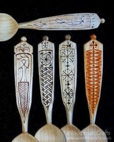 Woodsman Crafts: Kolrosed and chip carved wooden eating spoons. The staining is Coffee, Cinnamon, and Paprika