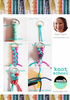 macrame knots! We love macrame bracelets The one that says squared knot i did it to my hair