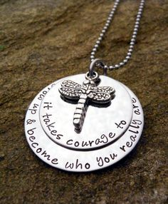 Layered Pendant with Dragonfly Charm - Personalized Necklace - Mother's Necklace