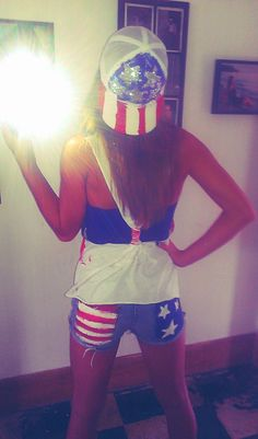 My fourth of July outfit made with old jeans, plain white shirt, white snapback and good ole paint :)