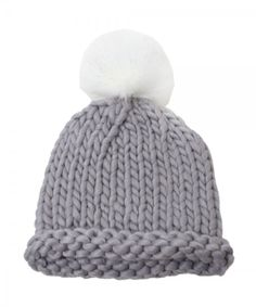 D&Y Chunky Yarn With White Pom Pom Beanie Hat