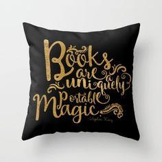 Books are a Uniquely Portable Magic Gold Throw Pillow