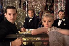Tobey Maguire as Nick Carraway, Leonardo DiCaprio as Jay Gatsby, Carey Mulligan as Daisy Buchanan, and Joel Edgerton as Tom Buchanan in The Great Gatsby. Great Gatsby Party, The Great Gatsby Movie, Great Gatsby Fashion, 1920s Party, 1920s Wedding, Speakeasy Party, Daisy Great Gatsby, 1920s Speakeasy, Prohibition Party