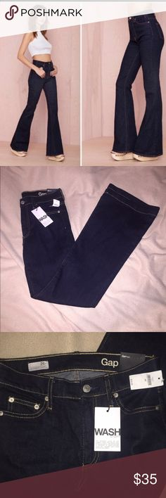 GAP Dark Wash Flare Jeans  NWT Dark wash flare jeans. Love this denim wash and cut , can be dressed up or down. They are a little too long for my short legs though. Perfect condition! GAP Jeans Flare & Wide Leg