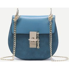 SheIn(sheinside) Blue PU Flap Saddle Bag With Chain ($28) ❤ liked on Polyvore featuring bags, handbags, shoulder bags, blue, flap shoulder bag, saddle bags, flap handbags, blue purse and polyurethane handbags