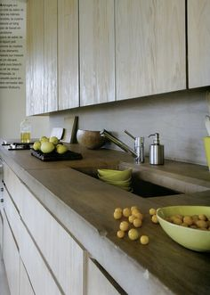 stone countertop with wood cabinets