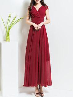 Chiffon Boho Folds A-line Short Sleeve Maxi Dress Stylewe