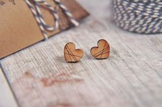 Pattern Wrapped Love Heart Wooden Lasercut Stud Earrings