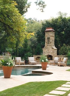 Natural Stone Fireplace & Pool Area