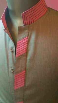 Best 12 Collar with tread detailing Chudidhar Neck Designs, Salwar Neck Designs, Mens Kurta Designs, Kurta Neck Design, Neck Designs For Suits, Neckline Designs, Dress Neck Designs, Designs For Dresses, Sleeve Designs