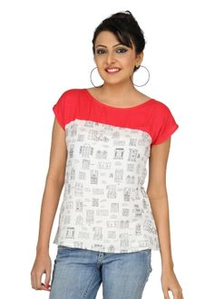 Coral colour blocked top... #fashion #womensfashion #quirkyprints #summerwear