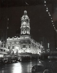 Digital Photograph - Melbourne Town Hall, Illuminated for Coronation of Queen Elizabeth II, 1953