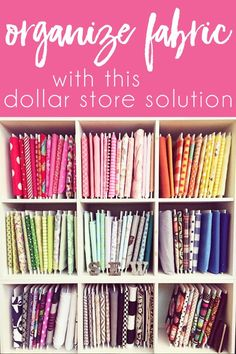 Budget Friendly Sewing Room Organization Ideas - Learn how to organize you fabric stash on a budget! File your fabric with this dollar store fabric - Sewing Room Design, Sewing Room Storage, Fabric Storage Boxes, Craft Room Design, Sewing Room Organization, Craft Room Storage, Storage Ideas, Organization Ideas, Storage Solutions
