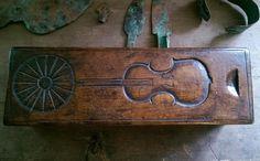 Antique 1861 SAILOR'S DITTY BOX CARVED SHIPS VIOLIN AAFA Folk Art Primitive