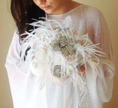Great Gatsby Brooch bouquet Brooch and pearl by HeartShapedPetals, €330.00